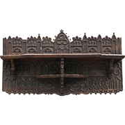 Antique 18th-Century English Gothic Carved Oak Wall Shelf