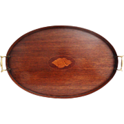 Mahogany Shell Inlay Serving Tray, English Circa 1900 - Red Tag Sale Item