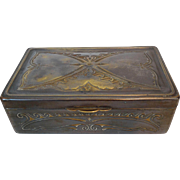 Art Nouveau Pewter Box, Embossed Butterfly Design
