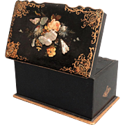 19th-C Tea Caddy, Mother of Pearl, Abalone