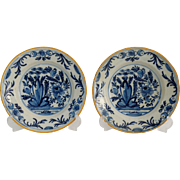 18th-Century Dutch Delft Plates, Pair