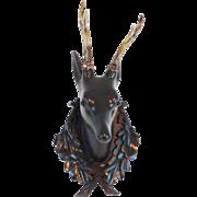 Carved Black Forest Deer Plaque