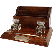 Antique Edwardian Inkwell Desk Set, Stationery File