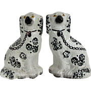 Antique Pair Staffordshire Spaniel Dogs, Large