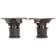 Antique Black Forest Carved Wall Brackets, Pair