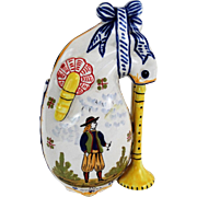 Antique French Quimper Vase with Bagpipes