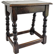 Antique English Oak Joint Stool, Circa 1880