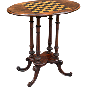 Antique English Burr Walnut Games Table Checkers / Chess