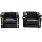 Le Corbusier Style Leather Lounge Chairs, Pair, France