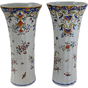 Antique French Faience Rouen Vases, Near Pair