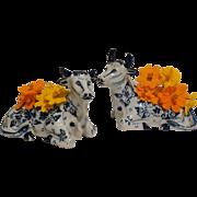 Antique  Delft Recumbent Cow Vases, Set of 2