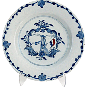18th-Century Delft Plate, Commemorative with Figure, Flag, & Script