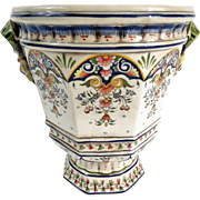 Antique French Faience Rouen Cache Pot Jardiniere