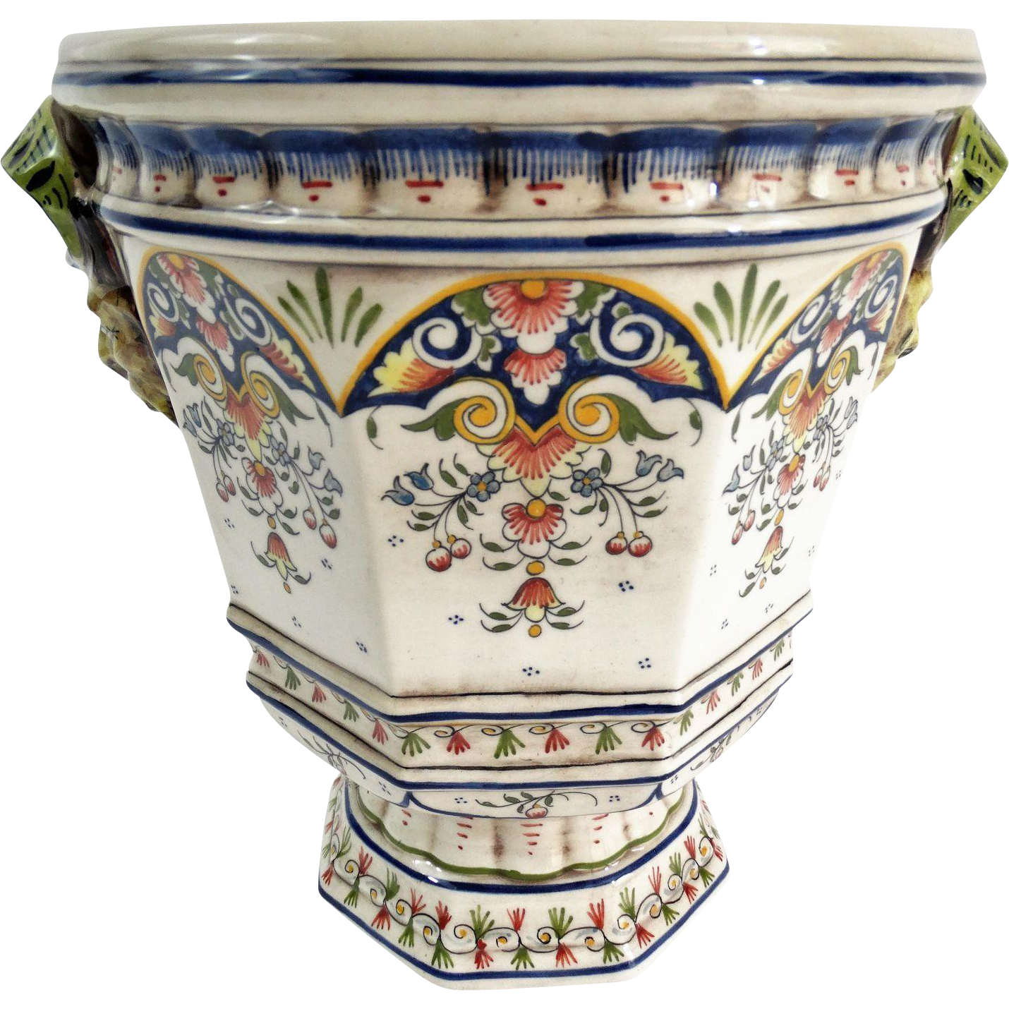 antique french faience rouen cache pot jardiniere from faded rose antiques llc on ruby lane. Black Bedroom Furniture Sets. Home Design Ideas