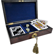 Antique Rosewood Playing Cards Games Box with Key
