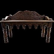 Antique English Oak Window Seat Bench