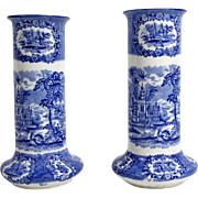 Pair Early English Blue & White Vases