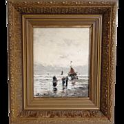 Antique Dutch Impressionist Seascape