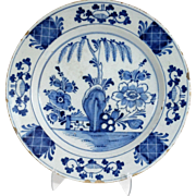 Antique Dutch Delft Chinoiserie Platter / Charger 18th-Century