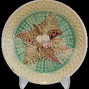 Antique Majolica Fern Leaf Plate