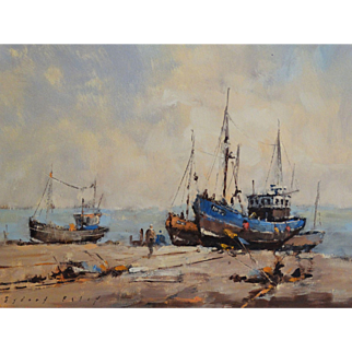 Waiting For the Tide Oil Painting Seascape, Sidney Foley