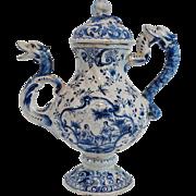 Antique Dutch Delft Lidded Teapot Pitcher