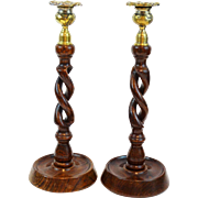 Antique Oak Twist Candlesticks, Pair, English