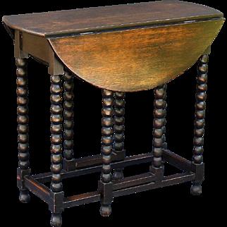 Oak Bobbin Gate-Leg Drop-Leaf Table, English