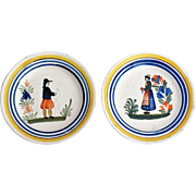 French Quimper Plates, Set of 2,