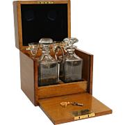 Liquor Decanter Box Set, Cave a Liqueur with Bramah Lock & Key, 19th-C, England