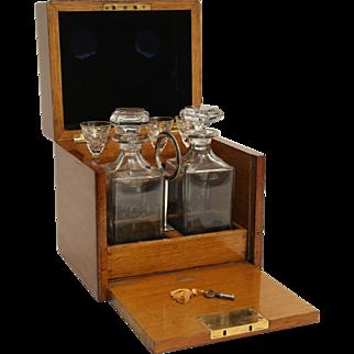 Liquor Decanter Box Set, Cave a Liqueur with Bramah Lock & Key, 19th-C, England