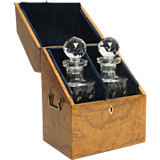 19th-Century Liquor Decanter Box, Cave a Liqueur, English, Burl Yew