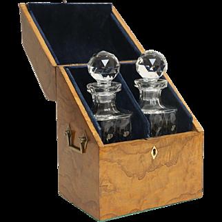 19th-Century Liquor Decanter Box, Cave a Liqueur, English, Burl Yew