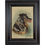 Retriever Dog Portrait Antique Oil Painting, English, 1906