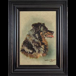 Retriever Dog Portrait Antique Oil Painting, English, 1906