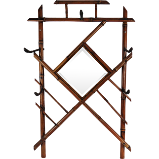 Hanging French Bamboo Wall Mirror and Rack