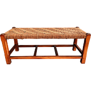 English Oak Footstool with Cording Seat, Circa 1940