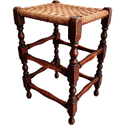 Early English Oak Stool with Cording Seat