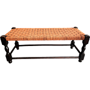 Early English Oak Footstool with Cording Seat