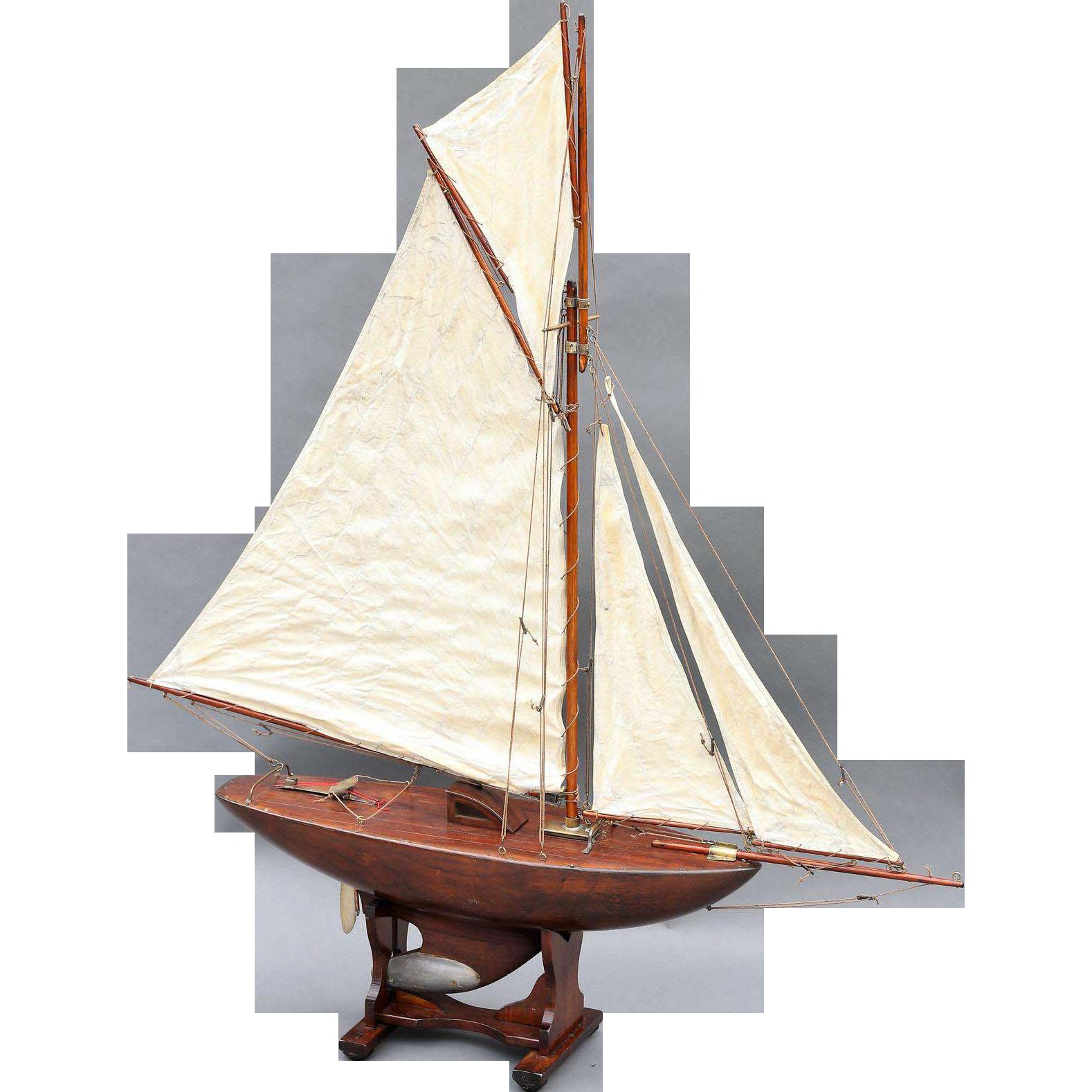 Large Antique English Pond Yacht