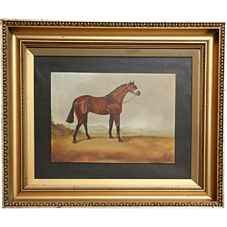Racehorse Oil Painting, English, Circa 1930
