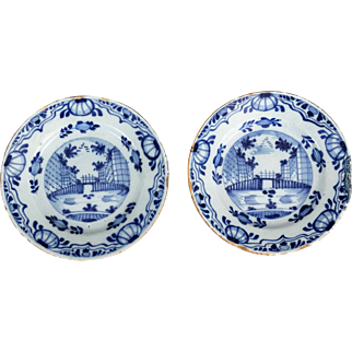 Antique Dutch Delft Chinoiserie Plates, Pair