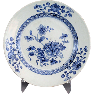 Antique Dutch Delft Chinoiserie Plate, 18th-Century