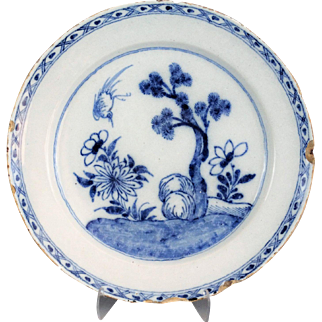 Antique Dutch Delft Chinoiserie Platter Charger, 18th-Century