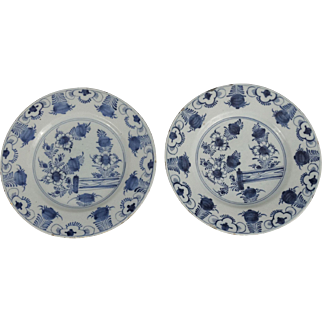 Dutch Delft Chinoiserie Plates, Pair, 18th-C