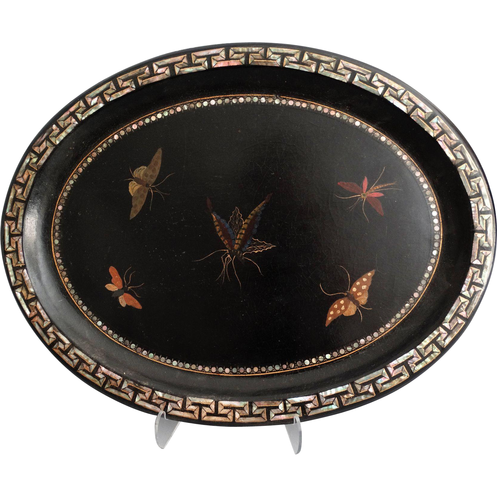 antique papier mache tray w butterflies from faded rose antiques llc on ruby lane. Black Bedroom Furniture Sets. Home Design Ideas
