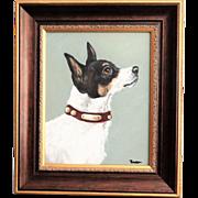 Terrier Dog Portrait Oil on Canvas