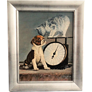 'Weighing In' Kitten and Puppy Dog Oil Painting