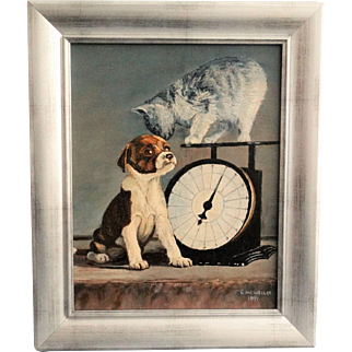 'Weighing In' Kitten and Puppy Oil Painting