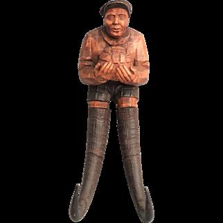 Black Forest Figural Goalie Man Crop & Leash Hook
